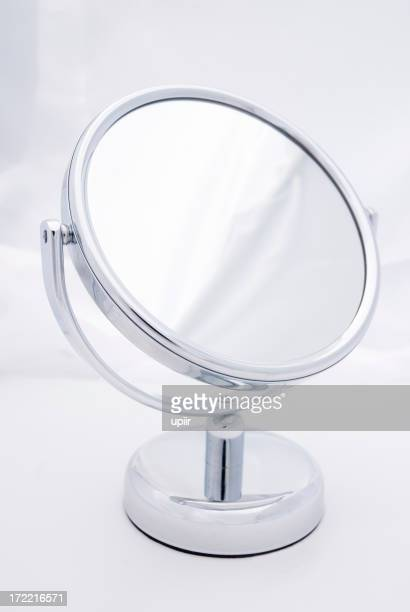 Small round looking glass (mirror), soft background, without any reflections