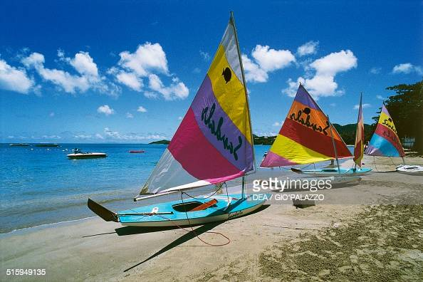Small sailing boats on a beach US Virgin islands United States of America