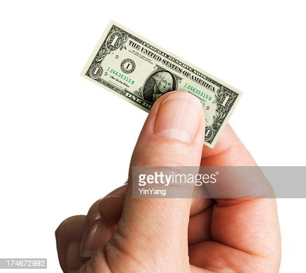 Small Shrinking Currency Dollar in Inflation on White Background