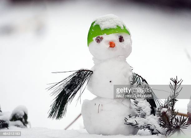 A small snowman is decorated with snail shells a plastic cup and a carrot on January 22 2014 near Teltow northeastern Germany Meteorologists forecast...