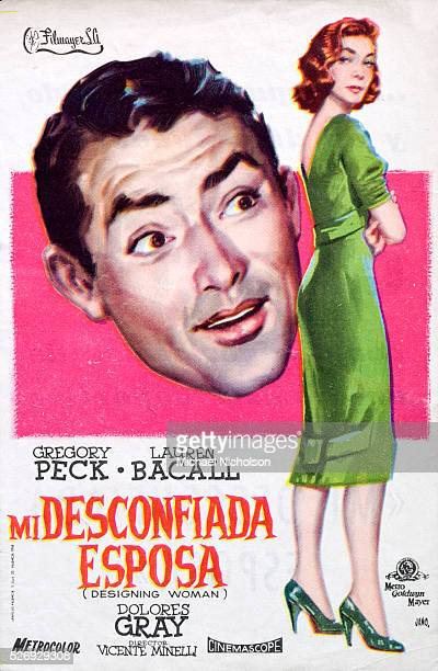 Small Spanish film poster for the 1957 MGM comedy film 'Designing Woman' directed by Vincente Minelli and starring Gregory Peck and Lauren Bacall...