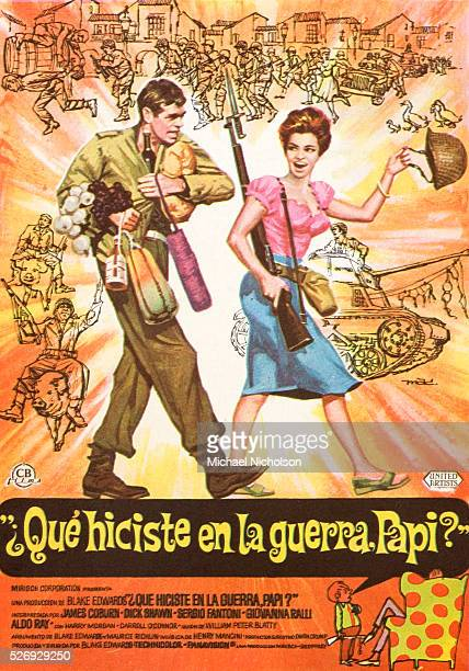 Small Spanish film poster for the 1966 United Artists comedy film 'What Did You Do in the War Daddy' directed by Blake Edwards and starring James...