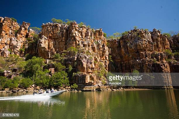 Small speedboat on the Berkeley River Kimberley region Western Australia Australia