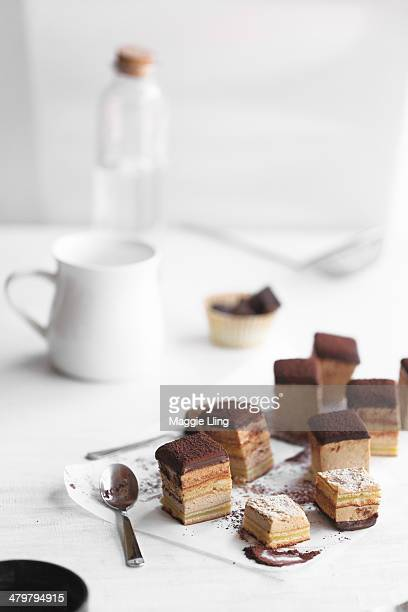 small square pieces of chocolate mousse cake