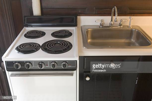Small stove and kitchen sink