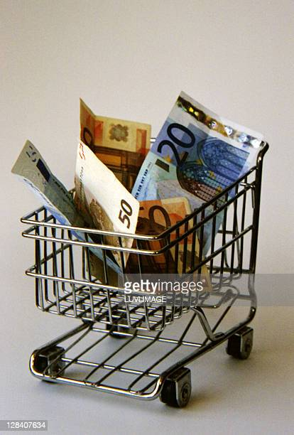 Small Supermarket Cart carrying Euro Notes