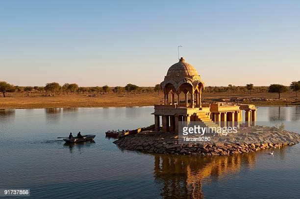 Small temple in dry lake, Thar Desert, India