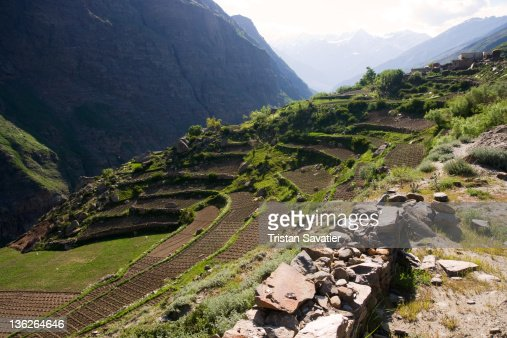 Small terrace farming fields in indian himalayas stock for Terrace farming in india