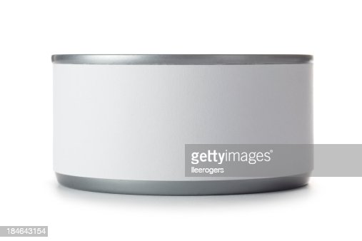 Small tin can with blank label on a white background