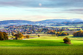 small idyllic town in a valley on bavaria countryside