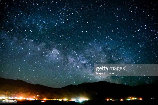 Small town lights and the milky way galaxy.