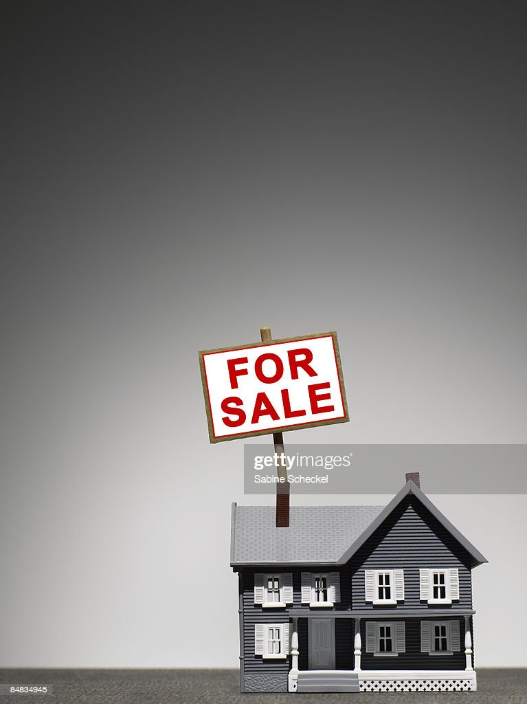 small toy house with for sale sign : Stock Photo
