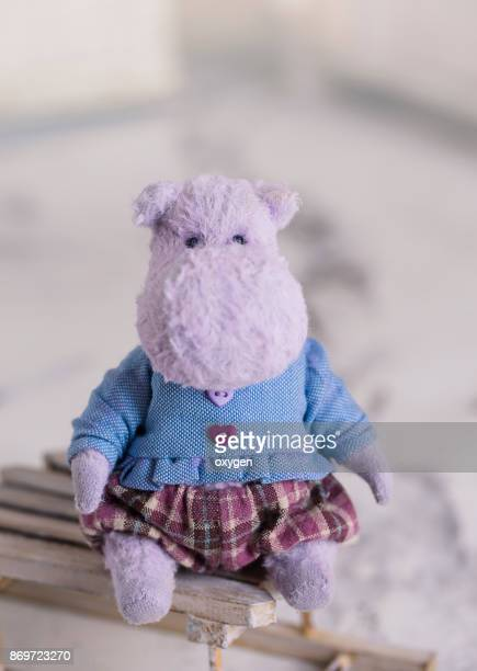 Small Toy Violet Hippo is sitting on a vintage box