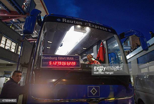 A small version of the stadium clock in the team bus is still running after the second leg of the Bundesliga playoff match between Karlsruher SC and...