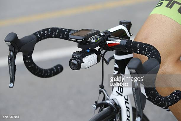 A small video camera is hung on the handlebar of a rider's bike before the 9th stage of the 98th Giro d'Italia Tour of Italy cycling race between...