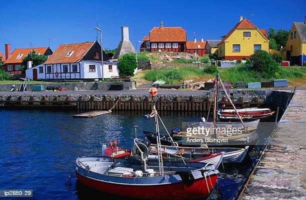 Small village harbour, Gudhjem, Bornholm, Denmark, Europe