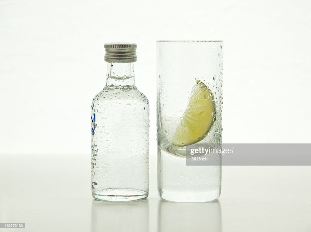 Small vodka bottle with shot glass