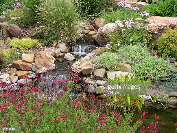 Small Waterfall and Hardscape with Rocks and Flowers