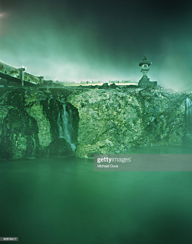 small waterfall with hot spring in : Stock Photo
