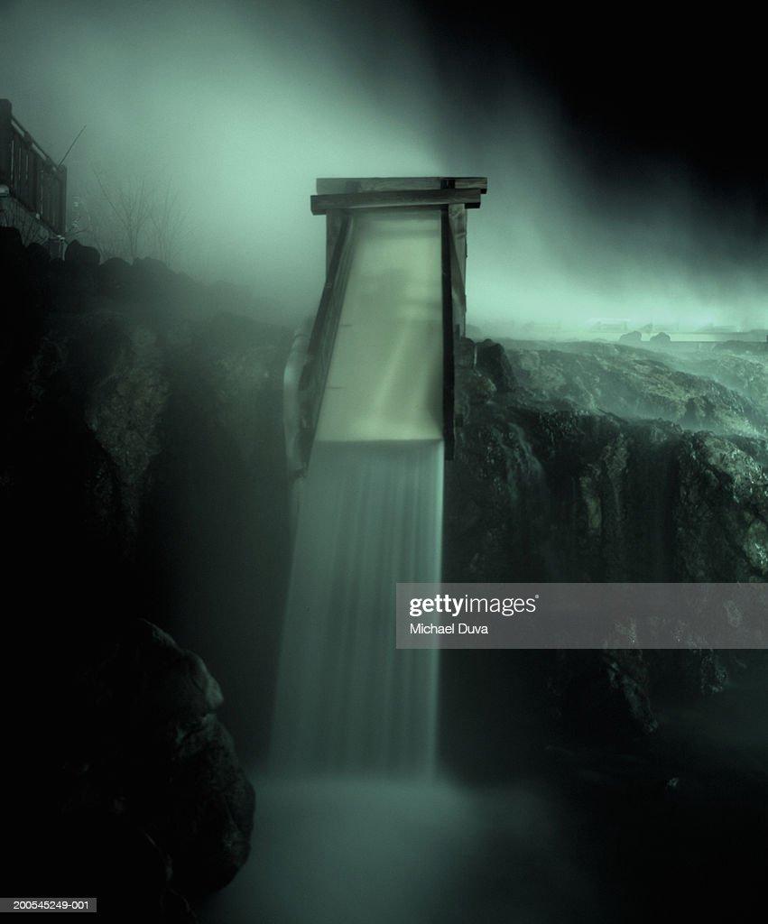 Small waterfall with hot spring, Kusatsu, Japan (cross-processed) : Stock Photo