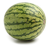 Personal size watermelon on white background.