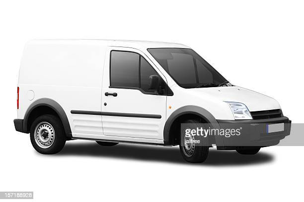Small white van isolated on a white background