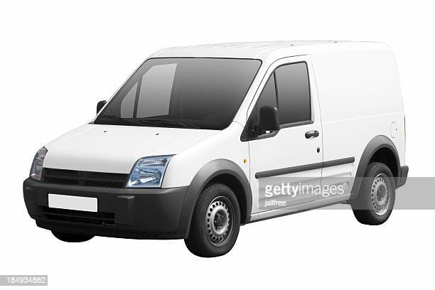 Small white van isolated on white background with path