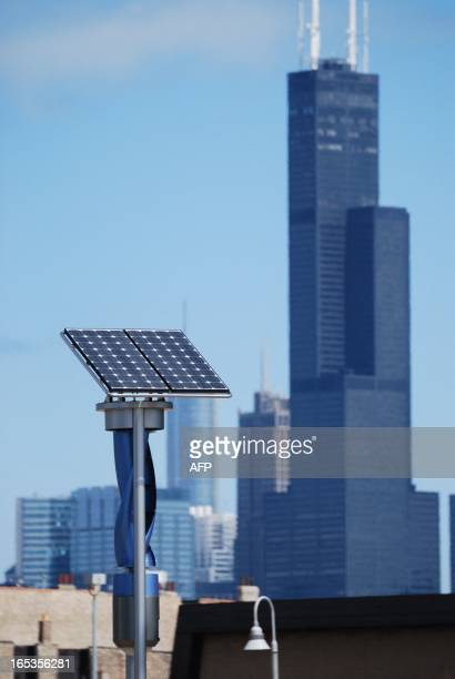A small wind and solar generating unit used to power streetlights is seen at the corner of Blue Island and Cermak in ChicagoIllinois which Chicago...