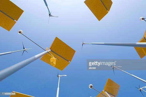 Small wind turbines and solar panels