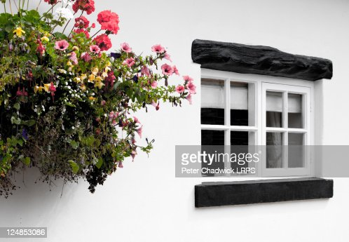 Small window with flowers on Cheshire cottage : Bildbanksbilder