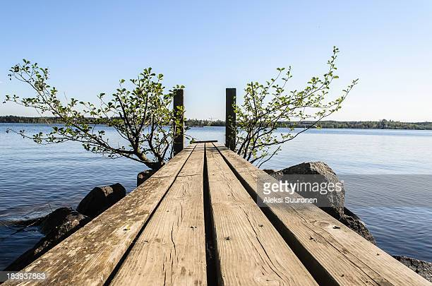 Small wooden pier in a lake