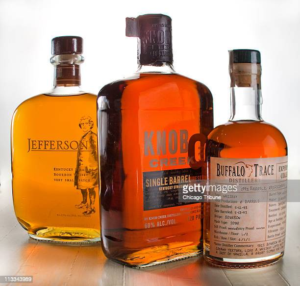 Smallbatch bourbon bottles of bourbon whiskeys include Knob Creek Buffalo Trace and Jefferson's
