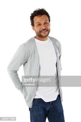 Smart african man standing on white