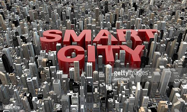 Smart City 3D rendering della vista superiore