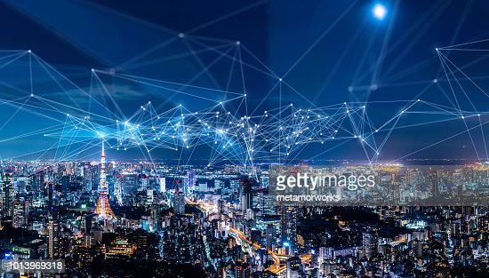 Smart city and communication network concept. IoT(Internet of Things). ICT(Information Communication Network). : Stock Photo
