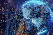 Smart city and global network concept.