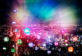 smart city and internet of things, various communication devices, architecture, transportation, industry, infrastructure,medical, home electronics, smart grid, abstract image visualsmart city and inte