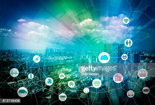 smart city and internet of things, various communication devices : Stock Photo