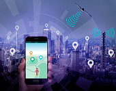 smart city and smart phone application using location information, hand hold smart phone communicating with satellite and wireless communication antenna, abstract image visual