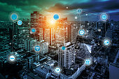 smart city and wireless communication network, business district with expressway and highway, abstract image visual, internet of things concept