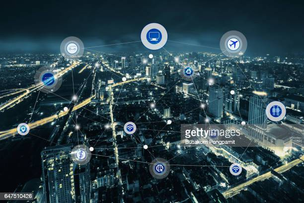 smart city and wireless communication network, business district with expressway and highway