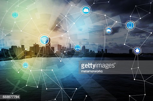 smart city and wireless communication network, internet of things : Stock Photo