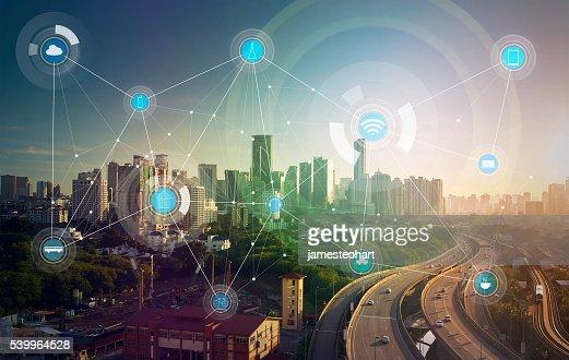 smart city und drahtlose Kommunikation Netzwerk : Stock-Foto