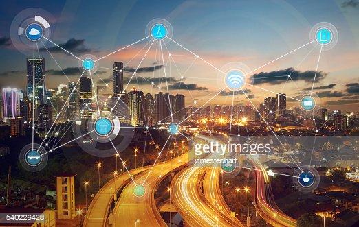 스마트네트워크 도시, 무선 통신 네트워크 : 스톡 사진