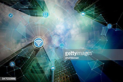 smart city and wireless communication network : Stock Photo