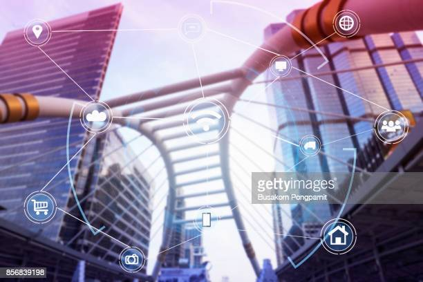 Smart city and wireless communication network, Wifi and city scape and network connection concept