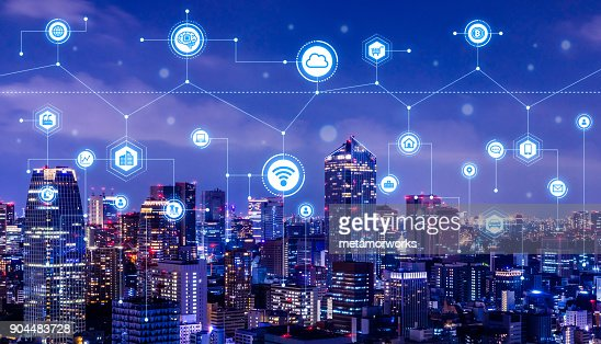 Smart city concept. IoT(Internet of Things). ICT(Information Communication Technology). : Stock Photo