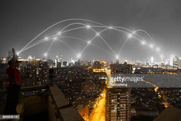 smart Cityscape and line effect network connection concept,background is Shanghai city