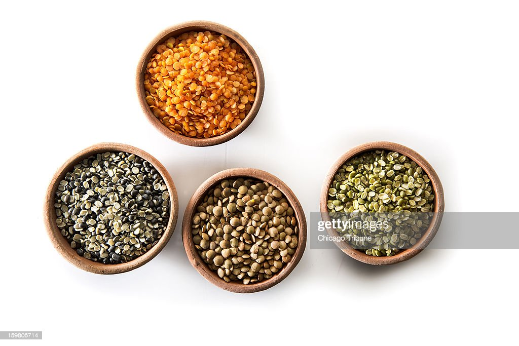 A smart cook learns to love lentils for their variety of textures and colors, black, pink, red, green and more, good nutrition, ease of cooking, and easy-to-swallow prices. Here, Urad Split B&W, from left, Small brown lentils, and Green Moong split, and red split lentils, above.