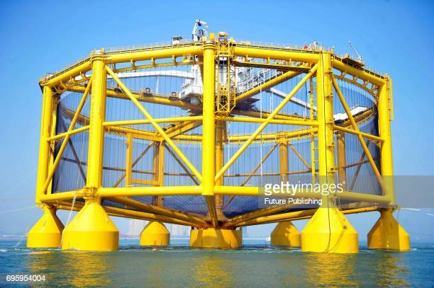A smart deepsea salmon farm is seen being moved onto a semisubmersible transporter in east China's Shandong province for a journey to Norway on June...